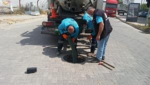 Saruhanlı'da ana kanalizasyon hatları temizlendi