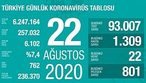22 vefat, 1309 yeni vaka!