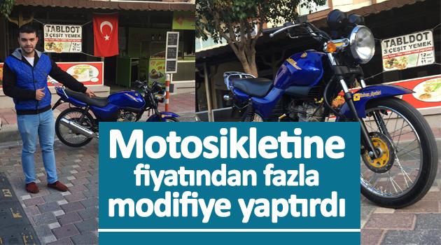 MOTOSİKLETİNE, FİYATINDAN FAZLA MODİFİYE YAPTIRDI