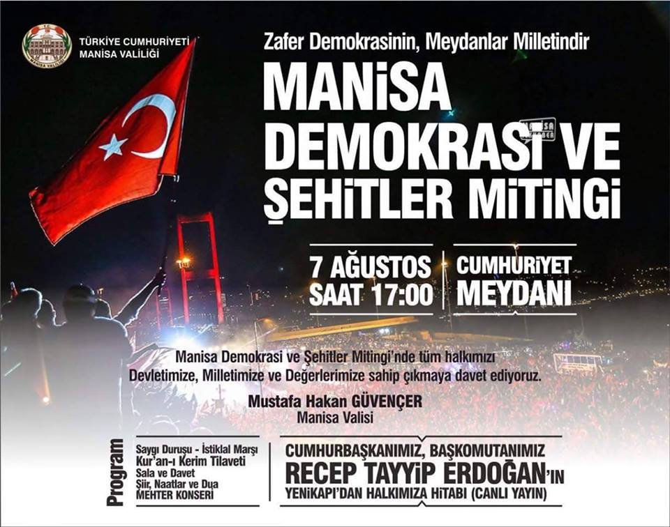 Sarıgöl 'Demokrasi ve Şehitler Mitingine' Katılıyor
